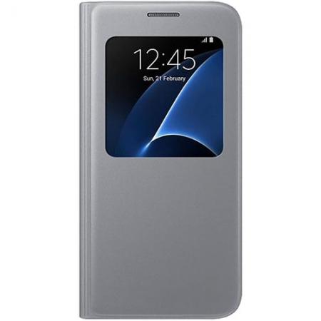 Husa Agenda S View pt. Samsung Galaxy S7 - Argintiu