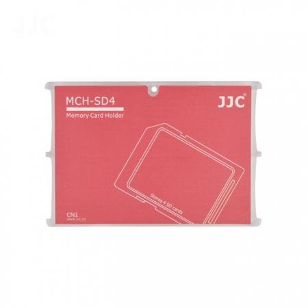 JJC - Cutie pentru carduri de memorie SD, 4 compartimente, rosu