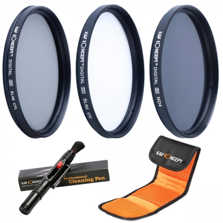 KentFaith - Set filtre 77mm UV+CPL+ND4 + Pensula + Husa filtre