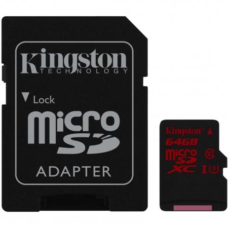 Kingston 64GB microSDHC UHS-I Class U3 90MB/s read 80MB/s write + SD Adapter BULK125026848-1