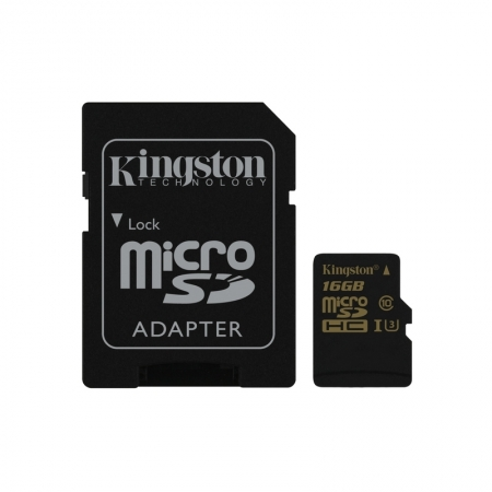 Kingston Gold microSDHC - Card 16GB, Clasa UHS-I U3, 90R/45W + Adaptor SD