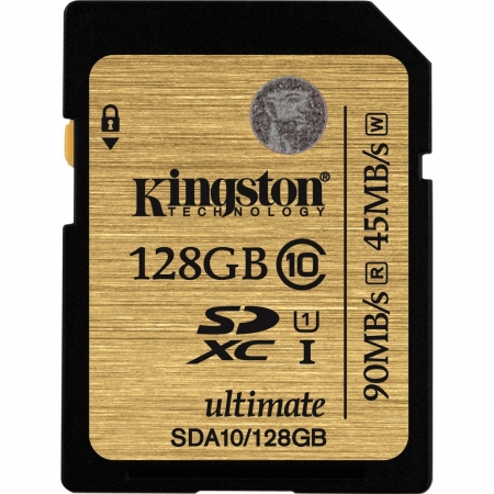 Kingston SDHC Ultimate 128GB  Class 10 UHS-I 90MB/s read 45MB/s write Flash Card - BULK125025220