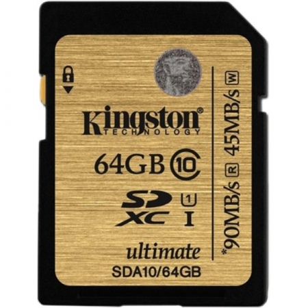 Kingston SDHC Ultimate 64GB  Class 10 UHS-I 90MB/s read 45MB/s write Flash Card BULK125025219