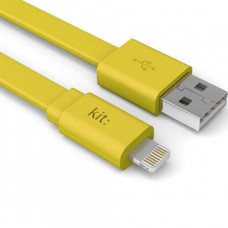 Kit Fresh - Cablu date & incarcare, Apple Lightning, MFI, suprafata plata, LED, 1m, Galben