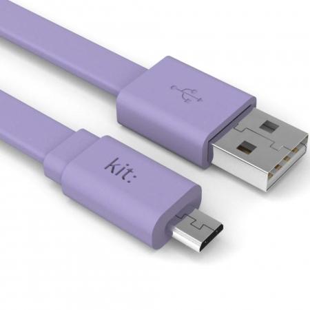 Kit Fresh - Cablu date & incarcare, Micro USB, suprafata plata, LED, 1 m, Violet