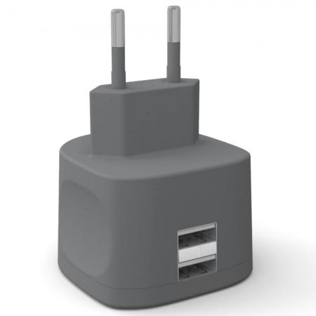 Kit Fresh - Incarcator retea 3.4A, Dual USB 2.0, incarcare rapida, Gri