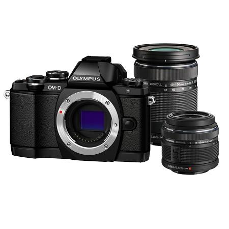 Olympus OM-D E-M10 negru kit 14-42mm II R negru si ED 40-150mm negru
