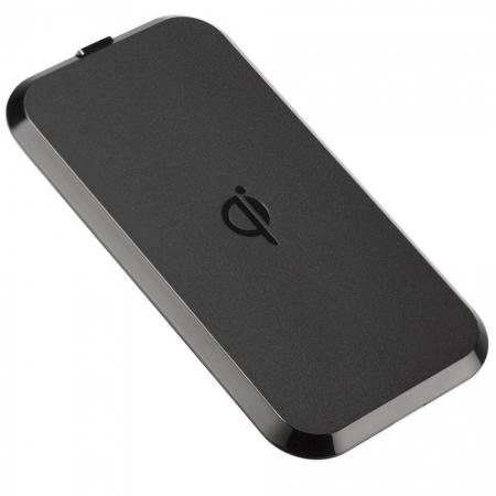 Kit QIPAD2 - Placa de incarcare wireless premium, 1000 mAh, Negru