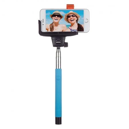 KitVision BTSSPHBL - Selfie Stick extensibil cu control actionare shutter pe bluetooth si suport de telefon, albastru