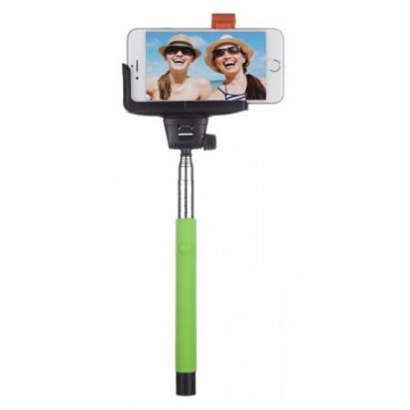 KitVision BTSSPHGN - Selfie Stick extensibil cu control actionare shutter pe bluetooth si suport de telefon, verde