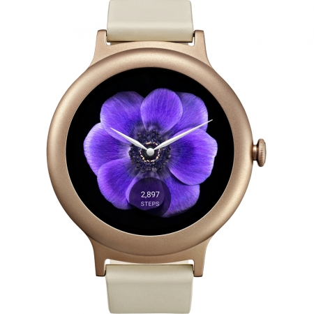 LG Style W270  - Smartwatch Otel Inoxidabil Roz, Curea Piele - Crem