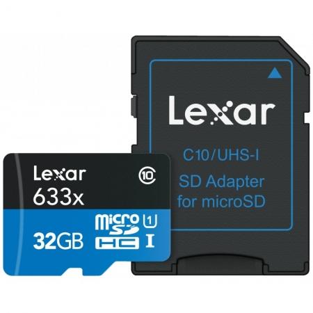 Lexar microSDHC 32GB, Class 10, UHS-I, 95MB/s + Adaptor SD