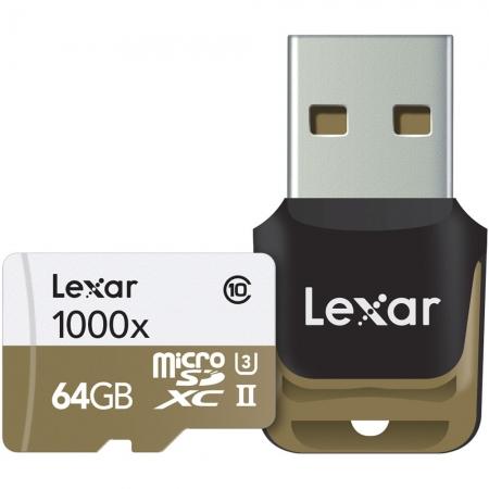 Lexar microSDXC 1000x UHS-II 64GB - card cu cititor USB 3.0