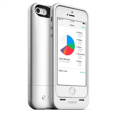 Mophie iPhone 5s / 5 space pack - Husa cu acumulator 1700mAh si memorie 16GB - alb