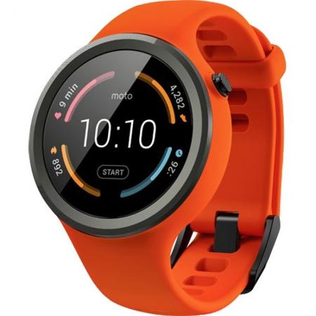 Motorola Moto 360 Sport, 2nd Gen - Smartwatch 45mm, Curea silicon, Portocaliu