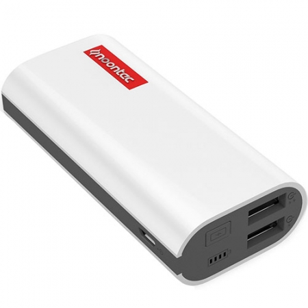 Noontec -  Baterie externa Powa 5200 mAh, cu doua porturi USB, alb