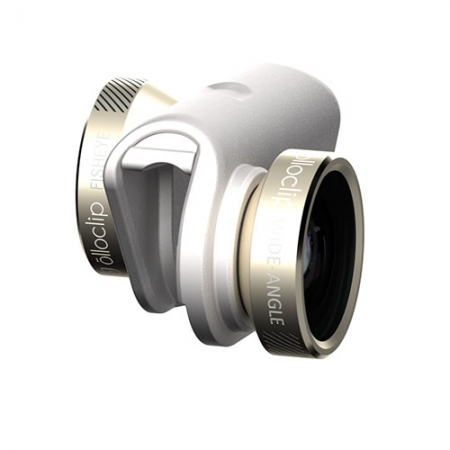 OLLOCLIP 4-in-1 Lens - kit lentile iPhone 6 & 6 Plus, auriu cu alb