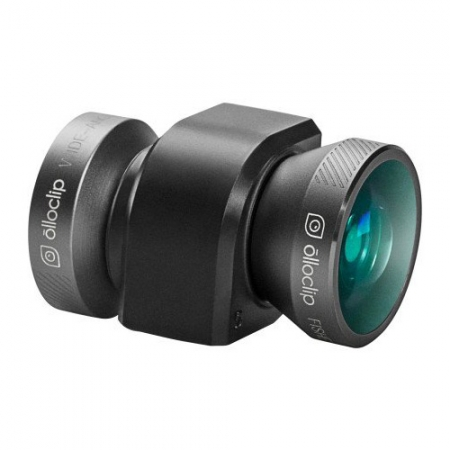 Ollo Clip Sistem lentile 4-in-1: Fisheye, Wide-Angle, 10x Macro and 15x Macro, gri-negru