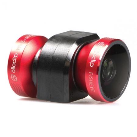 OlloClip Sistem lentile 4-in-1:  Fisheye, Wide-Angle, 10x Macro si 15x Macro rosu-negru iPhone 5s / 5