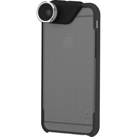 Olloclip Kit Lentile 4 in 1 Wide-Angle, Fisheye, Macro 10x, 15x + Husa Capac Spate iPhone 6 Plus - negru