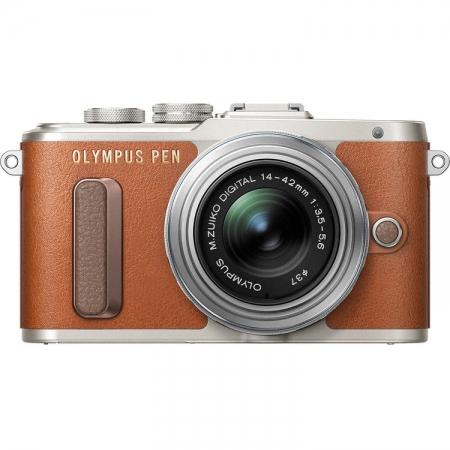 Olympus E-PL8 + EZ-M1442 Pancake, Maro/Argintiu