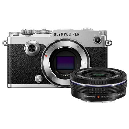 Olympus PEN-F EZ-M 14 42mm EZ Pancake Zoom Kit slv/blk