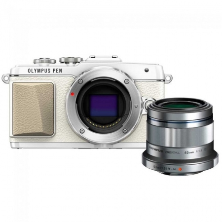 Olympus Portrait Kit - Olympus E-PL7, Alb + obiectiv 45mm f/1.8, Argintiu