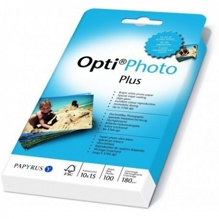 Opti photo plus - Hartie high gloss, 10x15 cm, 180 g/m2, 100 buc.