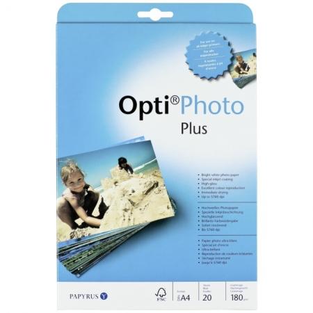Opti photo plus - Hartie high gloss, A4, 180 g/m2, 20 buc.
