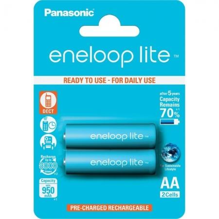 Panasonic Acumulatori Eneloop Lite tip R6 AA de 950mAh, 3000 cicluri, preincarcati, set 2buc