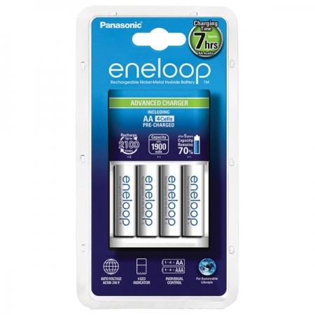 Panasonic Eneloop Loader Incarcator + 4 Acumulatori R6 / AA 1900mAh