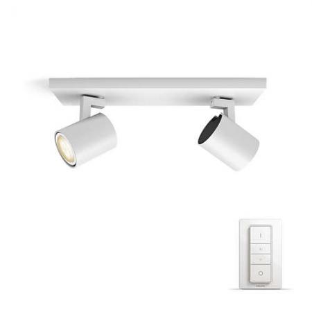 Philips HUE Runner - Bara cu 2 spoturi, bec LED GU10, 2x5.5W, Wi-Fi, lumina alba reglabila + intrerupator, Alb