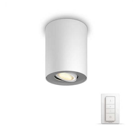 Philips HUE Spot Pillar- Bec LED GU10, 5.5W, WiFi, lumina alba reglabila+ intrerupator, Alb