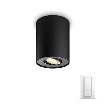 Philips HUE Spot Pillar - Bec LED GU10, 5.5W, WiFi, lumina alba reglabila+ intrerupator, Negru
