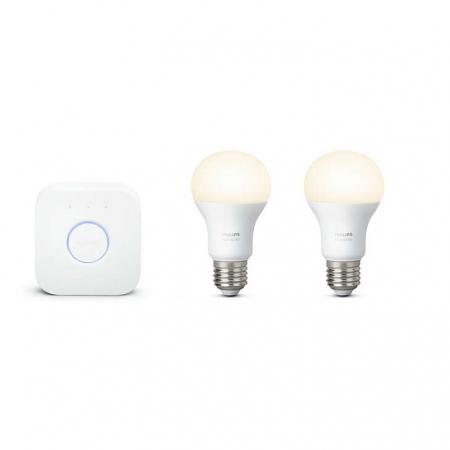 Philips HUE Starter A60 - Kit becuri inteligente LED E27 Alb, 9.5W, Wi-Fi + dispozitiv pentru conectare