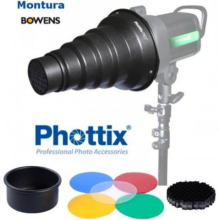 Phottix Set Snoot + filtre gel - montura Bowens