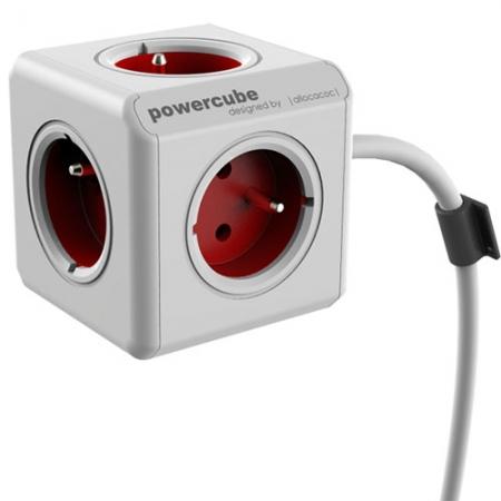 Power Cube - Priza cu Prelungitor, 1.5m, Rosu