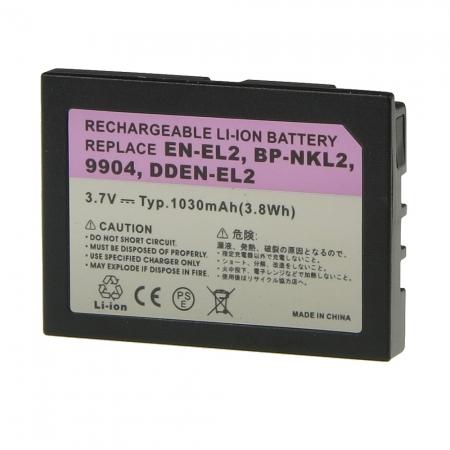 Power3000 PL125B.654 - acumulator tip EN-EL2 pentru Nikon, 1030mAh