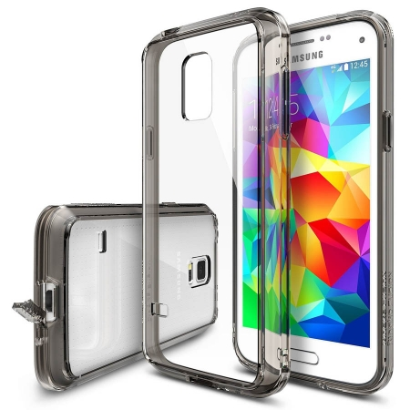 Ringke FUSION SMOKE BLACK Husa Samsung Galaxy S5 Mini + BONUS folie protectie display Ringke