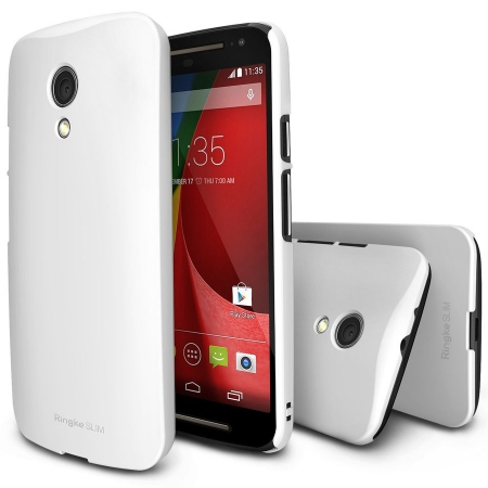 Ringke SLIM - Husa Moto G 2nd Gen 2014 WHITE + BONUS folie protectie display Ringke