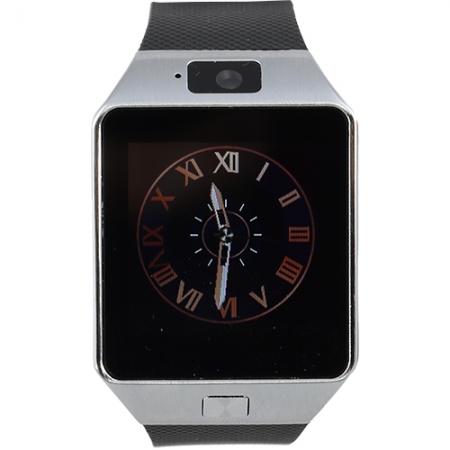 STAR Rush - Smartwatch Carcasa Argintie Si Curea Silicon Neagra