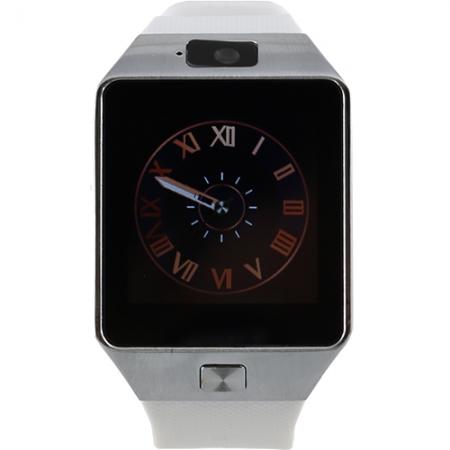STAR Rush - Smartwatch Carcasa Argintie si Curea Silicon Alba