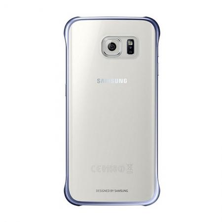 Samsung EF-QG925 - Husa tip Clear View pentru Galaxy S6 Edge (G925) - Negru Albastru