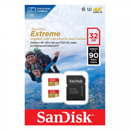 SanDisk Extreme microSDHC 32GB + SD Adapter for Action Sports Cameras 90MB/s Class 10 U3 UHS-I-2 Pack