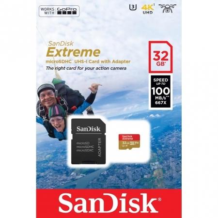 Sandisk Extreme MicroSD 32GB, UHS-I, 100MB/s (667 X), video (viteza): V30 / C10 / U3 + adaptor SD