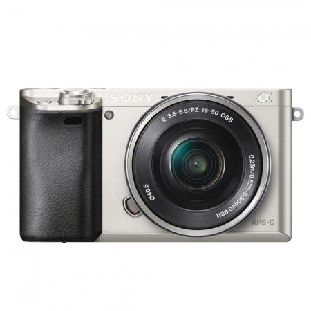 Sony Alpha A6000 kit PZ 16-50mm f/3.5-5.6 OSS - aparat foto mirrorless cu Wi-Fi si NFC argintiu