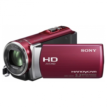 Sony Camera video HDR-CX210E Rosu FullHD,memorie de 8GB, zoom optic 25x, fotografii de 5,3 MP - RS1047217