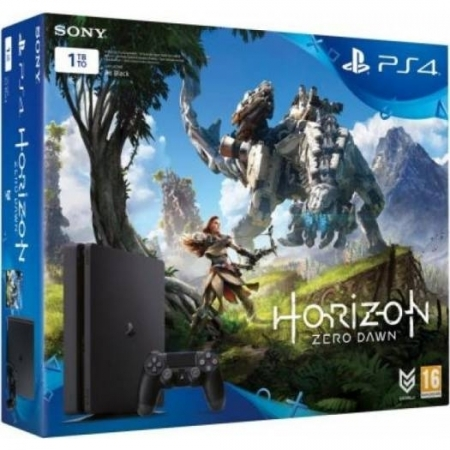 Sony Consola PS4 Slim 1TB, Negru + joc Horizon Zero Dawn