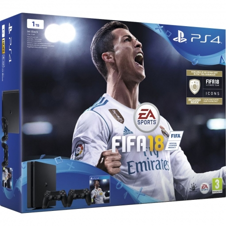 Sony Consola PS4 Slim 1TB Black + FIFA 18 + Abonament PS Plus 14 Zile + Extra DualShock 4 V2 controller