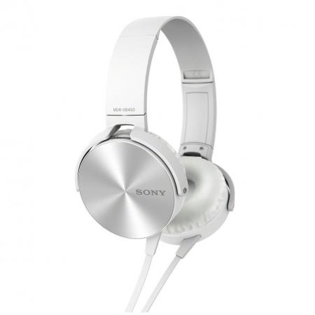 Sony MDR-XB450AP - Casti supraauriculare cu telecomanda si microfon - alb